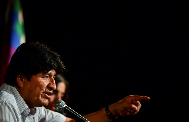 Bolivia's ex-President Evo Morales gestures during a press conference in Buenos Aires, on December 17, 2019