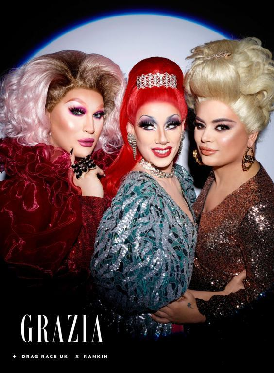 RuPaul's Drag Race UK finalists (left to right) The Vivienne, Divina De Campo and Baga Chipz MBE (Drag Race UK x Rankin for Grazia/Grazia/PA Wire)