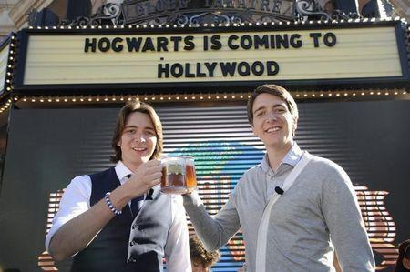 James and Oliver Phelps participate in an announcement of the new Harry Potter attraction to be built at Universal Studios Hollywood