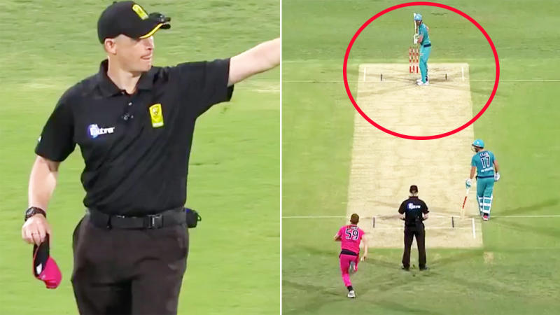 The umpires, pictured here checking for a Ben Cutting bump-ball in the Big Bash.
