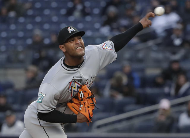 Miami Marlins pitcher Jarlin Garcia delivers against the New York Yankees during the first inning of a baseball game Tuesday, April 17, 2018, in New York. (AP Photo/Julie Jacobson)