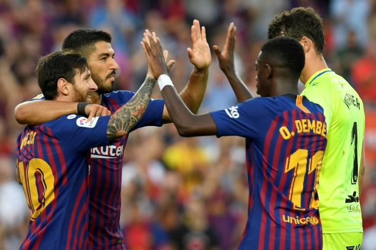 Luis Suarez, Lionel Messi and Ousmane Dembele were all on target