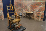FILE - This March 2019, file photo, provided by the South Carolina Department of Corrections shows the state's electric chair in Columbia, S.C. South Carolina Gov. Henry McMaster signed into law last week a bill that would essentially restart the state's stalled death penalty after a lack of lethal injection drugs has delayed several executions. The new law would let condemned inmates choose between the electric chair or a newly formed firing squad. (Kinard Lisbon/South Carolina Department of Corrections via AP, File)