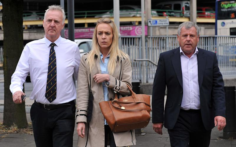Former husband Garry Hartley, daughter Charlotte Hartley and brother Graham Cook arriving at Preston Crown Court - Credit:  PA