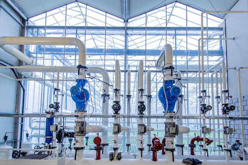 Gauges, valves and pipes for water, heating and CO2 at the Gebr Meier greenhouse in Hinwil outside Zurich. The heating and the CO2 is sourced from the local waste incinerator, where the CO2 is collected by the Swiss company Climeworks.