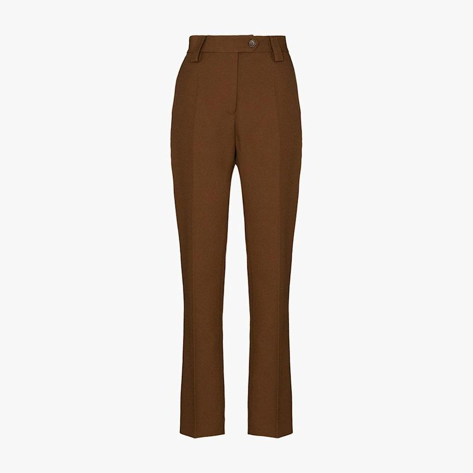 "$616, BROWNS. <a href=""https://www.brownsfashion.com/shopping/wales-bonner-high-waist-trousers-15104468"" rel=""nofollow noopener"" target=""_blank"" data-ylk=""slk:Get it now!"" class=""link rapid-noclick-resp"">Get it now!</a>"