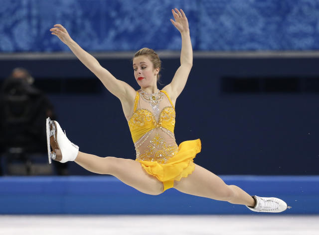 Ashley Wagner of the United States competes in the women's free skate figure skating finals at the Iceberg Skating Palace during the 2014 Winter Olympics, Thursday, Feb. 20, 2014, in Sochi, Russia. (AP Photo/Bernat Armangue)