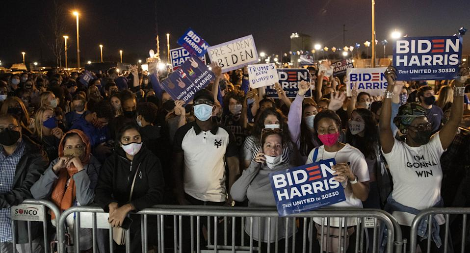 Chaotic crowds flooded Wilmington in Delaware in anticipation of Biden's speech. Source: Getty Images