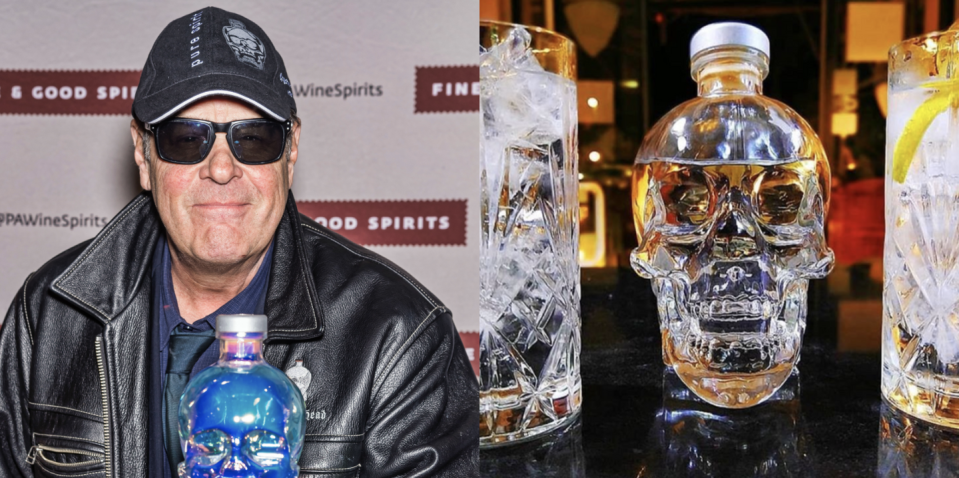 """<p>Dan Aykroyd, the Canadian actor and comedian known for his <em>Blues Brothers</em> role, launched his original premium """"clean"""" vodka in 2008. It's produced from """"peaches and cream"""" sweet corn blended with water from St. John's, Newfoundland. Cool detail: It's distilled four times before being filtered seven times. The brand's limited-edition Pride Bottle was released in May 2020 in celebration of diversity and equality.</p><p><a class=""""link rapid-noclick-resp"""" href=""""https://go.redirectingat.com?id=74968X1596630&url=https%3A%2F%2Fdrizly.com%2Fliquor%2Fvodka%2Fcrystal-head-vodka%2Fp2878&sref=https%3A%2F%2Fwww.delish.com%2Ffood%2Fg32949671%2Fcelebrity-alcohol-brands%2F"""" rel=""""nofollow noopener"""" target=""""_blank"""" data-ylk=""""slk:BUY NOW"""">BUY NOW</a> <em><strong>$45, drizly.com</strong></em></p>"""