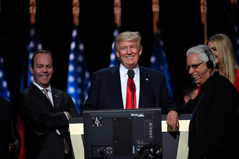 Then Republican candidate Donald Trump during rehearsal during the 2016 Republican National Convention at Quicken Loans Arena. Seen at left is Rick Gates.
