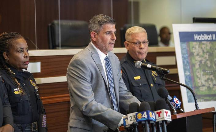 Lauderhill Police Lt. Mike Bigwood speaks during a news conference, Wednesday, June 23, 2021, in Lauderhill, Fla., after two young girls were found dead in a canal a day earlier. (Michael Laughlin/South Florida Sun-Sentinel via AP)