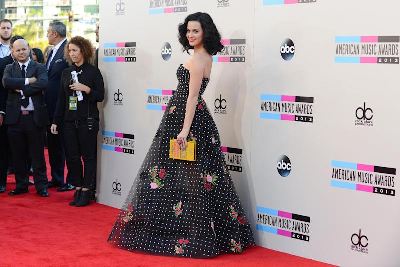 Katy Perry arrives at the American Music Awards at the Nokia Theatre L.A. Live on Sunday, Nov. 24, 2013, in Los Angeles. (Photo by Jordan Strauss/Invision/AP)