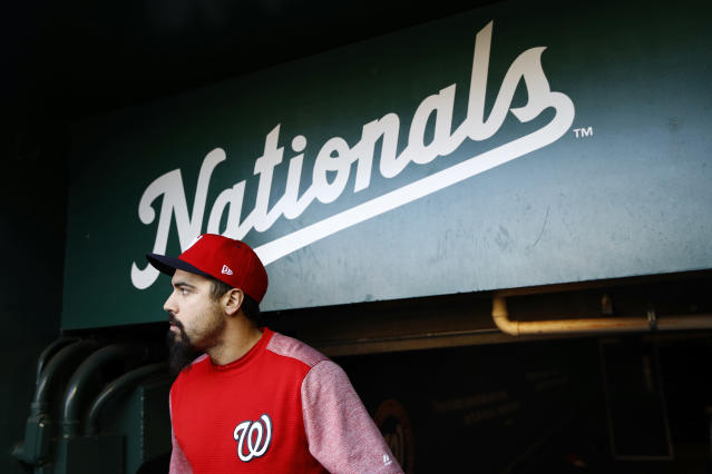Washington Nationals third baseman Anthony Rendon walks out of the clubhouse to participate in a baseball workout, Friday, Oct. 18, 2019, in Washington, in advance of the team's appearance in the World Series. (AP Photo/Patrick Semansky)