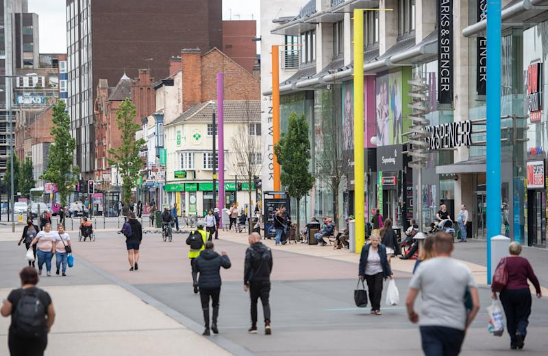 Humberstone Gate in Leicester where localised coronavirus lockdown restrictions have been in place since June 29, with non-essential shops ordered to close and people urged not to travel in or out of the area. (Photo by Joe Giddens/PA Images via Getty Images)