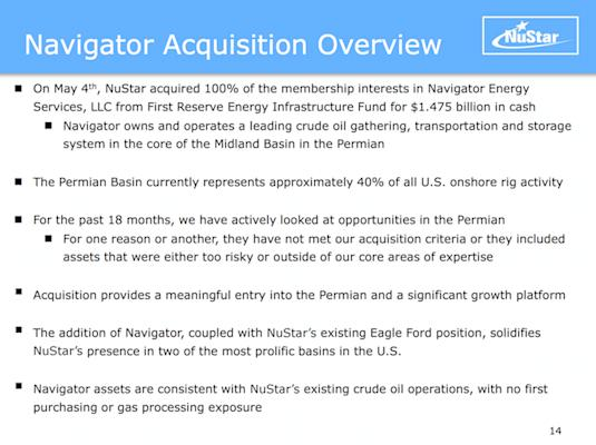 Execution Risk in Acquisition of Navigator Energy Services