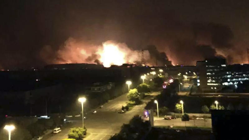 A huge explosion in the northern Chinese port city of Tianjin has killed at least seven people.