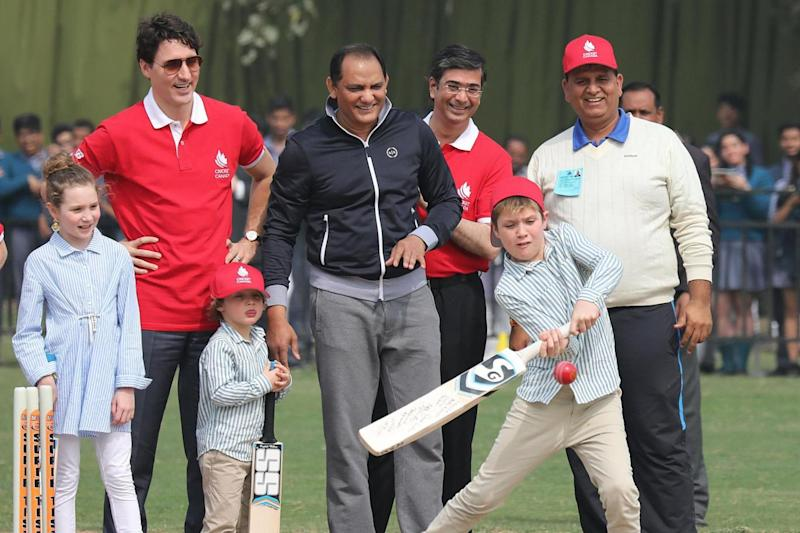 Visit: On Thursday the Trudeaus took part in a game of cricket (EPA)