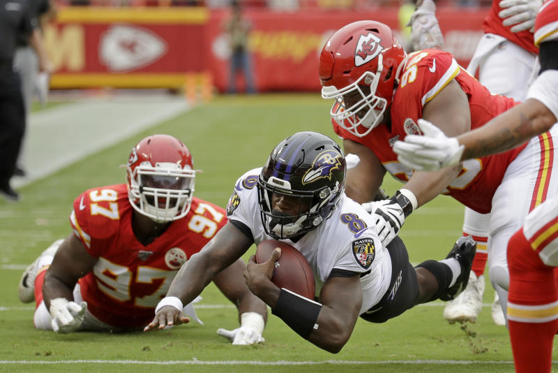 Baltimore Ravens quarterback Lamar Jackson (8) takes on the defending Super Bowl champion Chiefs on Monday night. (AP Photo/Charlie Riedel)