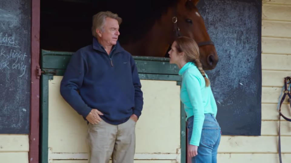 Sam Neill and Teresa Palmer star in the drama biopic, Ride Like a Girl. Ride Like A Girl is the true story of Michelle Payne, the first female jockey to win the Melbourne Cup and the film is the directorial debut from Australian actor Rachel Griffiths. (AAP Image/Scott Barbour)