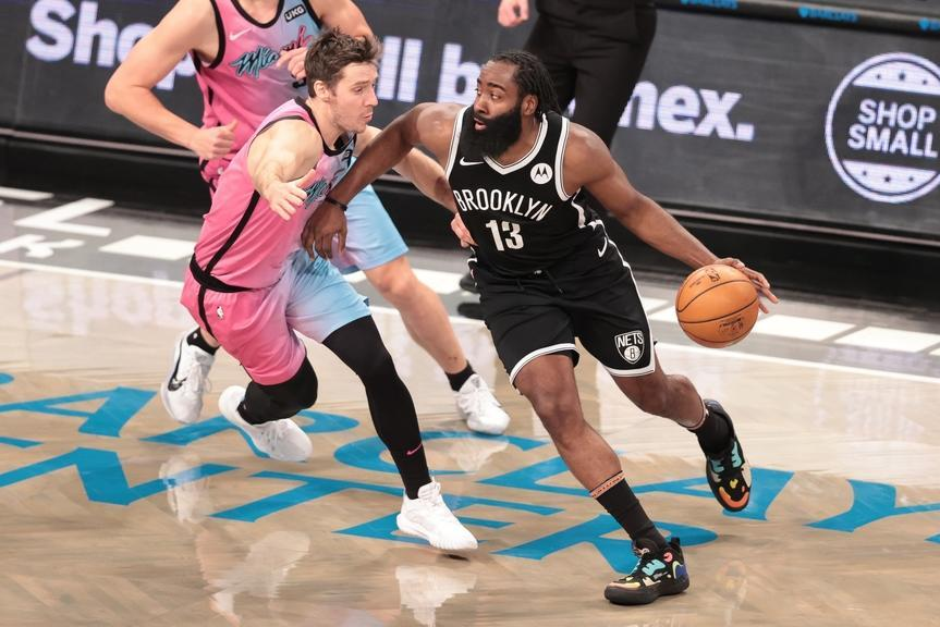 James Harden drives against Heat