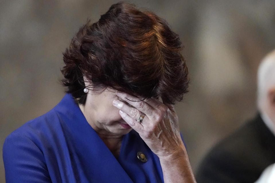 Sen. Beth Mizell, R-Franklinton bows her head in prayer during the invocation at the start of a veto session in the Senate Chambers in Baton Rouge, La., Tuesday, July 20, 2021. Louisiana state senators have narrowly voted to overturn Democratic Gov. John Bel Edwards' rejection of a bill prohibiting transgender students from participating in school sports. The vote came Tuesday on the opening day of the first veto session under the state's nearly 50-year-old constitution. (AP Photo/Gerald Herbert)