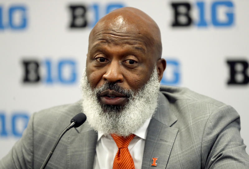 Illinois head coach Lovie Smith talks to reporters during the Big Ten Conference NCAA college football media days Thursday, July 18, 2019, in Chicago. (AP Photo/Charles Rex Arbogast)