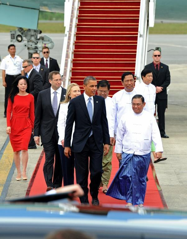 Barack Obama arrives in 2012 on the first visit by a US president to Myanmar, accompanied by then secretary of state Hillary Clinton and US ambassador Derek Mitchell