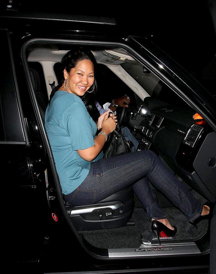"Despite being several months pregnant, Kimora still rocks a tight pair of jeans and Louboutins. Hellmuth Dominguez/<a href=""http://www.pacificcoastnews.com/"" target=""new"">PacificCoastNews.com</a> - March 21, 2009"