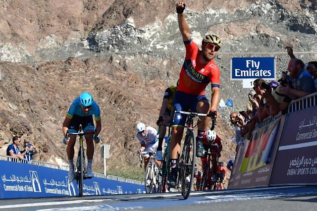 UCI World Tour team Bahrain–Merida's Italian rider Sonny Colbrelli won the fourth stage of the Dubai Tour (AFP Photo/GIUSEPPE CACACE)