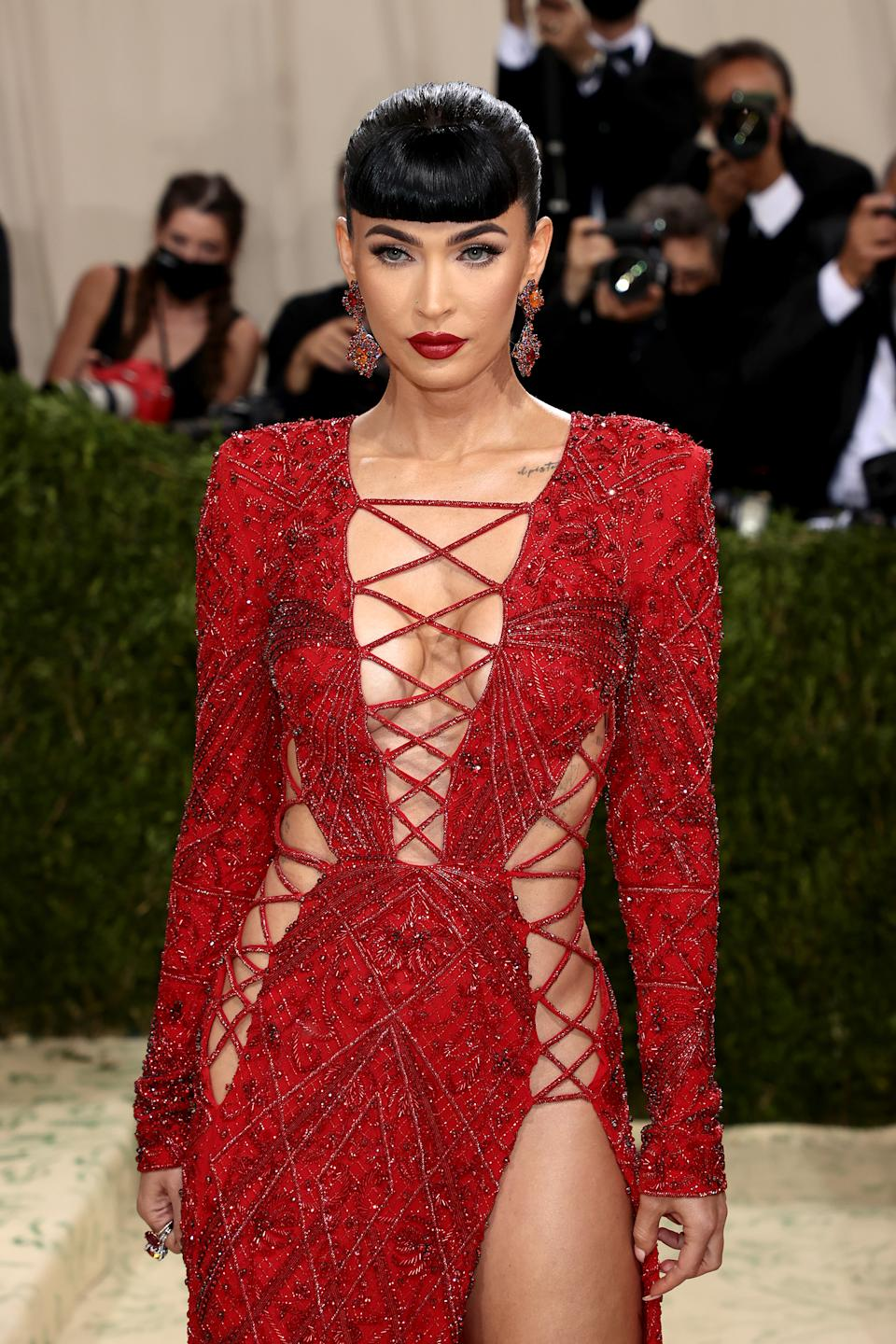 NEW YORK, NEW YORK - SEPTEMBER 13: Megan Fox attends The 2021 Met Gala Celebrating In America: A Lexicon Of Fashion at Metropolitan Museum of Art on September 13, 2021 in New York City. (Photo by Dimitrios Kambouris/Getty Images for The Met Museum/Vogue )