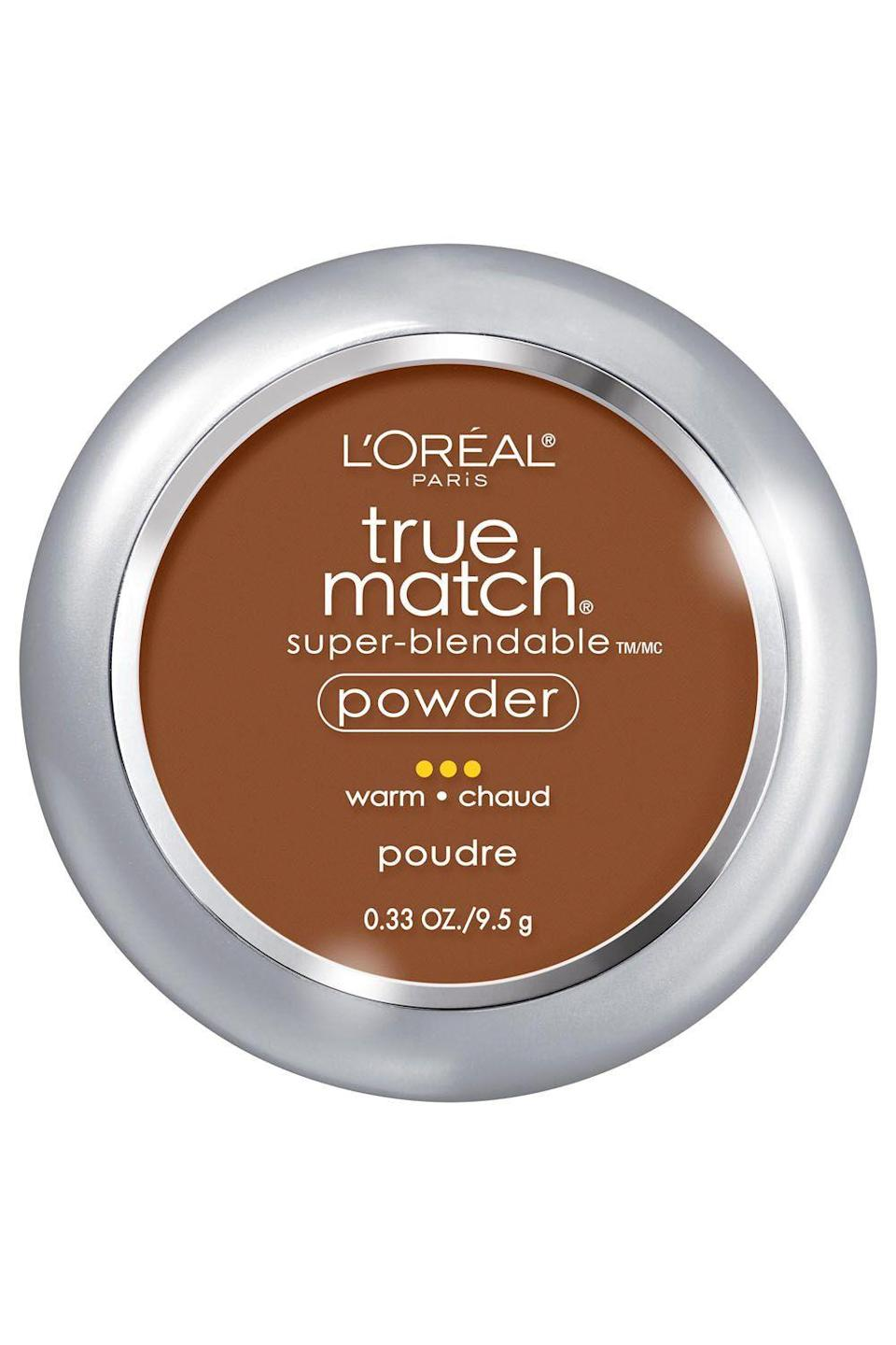 """<p>lorealparisusa.com</p><p><strong>$10.95</strong></p><p><a href=""""http://www.lorealparisusa.com/en/products/makeup/face/face-powder/true-match-powder.aspx"""" rel=""""nofollow noopener"""" target=""""_blank"""" data-ylk=""""slk:Shop Now"""" class=""""link rapid-noclick-resp"""">Shop Now</a></p><p>This drugstore setting powder is a godsend. There's 34 shades (way more than most brands), so you'll definitely be able to find your match. On top of that, it's mad <a href=""""https://www.cosmopolitan.com/style-beauty/beauty/how-to/a8001/blending-your-makeup/"""" rel=""""nofollow noopener"""" target=""""_blank"""" data-ylk=""""slk:easy to blend"""" class=""""link rapid-noclick-resp"""">easy to blend</a> and build—you won't have to worry about your face looking cakey or heavy. Plus, it has <strong>micro-pearls in the formula,</strong> which illuminate your skin for some extra glow.<br></p>"""