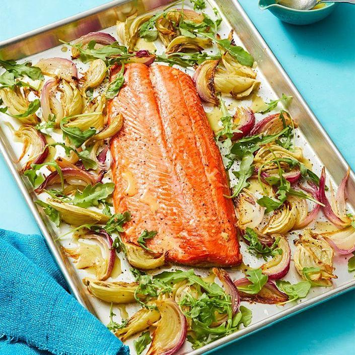 "<p>Salmon is an easy and healthy thing to make. This recipe only takes half an hour, and it tastes great with a side of veggies or grains. </p><p><em><a href=""https://www.womansday.com/food-recipes/food-drinks/a29464781/oven-roasted-salmon-with-charred-lemon-vinaigrette-recipe/"" rel=""nofollow noopener"" target=""_blank"" data-ylk=""slk:Get the Oven-Roasted Salmon with Charred Lemon Vinaigrette recipe."" class=""link rapid-noclick-resp"">Get the Oven-Roasted Salmon with Charred Lemon Vinaigrette recipe. </a></em></p>"
