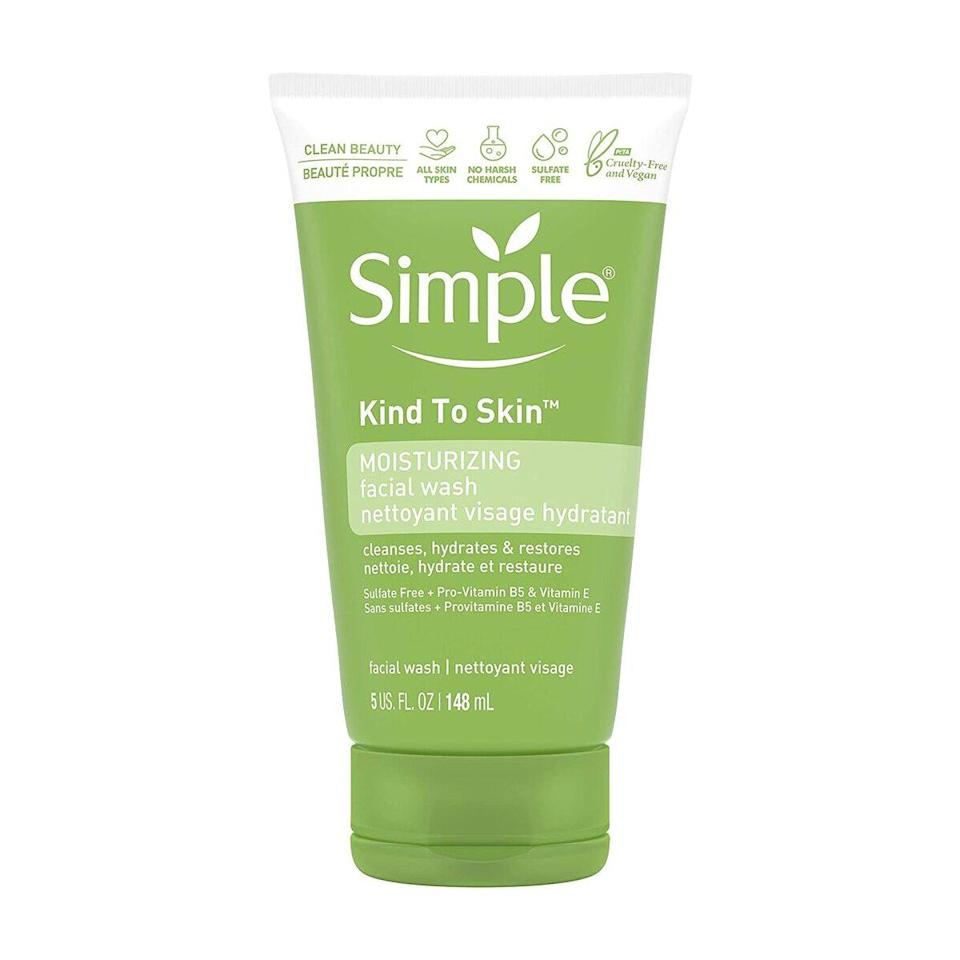 """Our tester is a big fan of Simple's gentle and soothing products, and its Moisturizing Facial Wash — a mixture of purified water and pH-balancing glycerin — is no exception. """"It is gentle enough for all skin types — especially sensitive, like mine — so all in all, it's a dream for $5."""""""