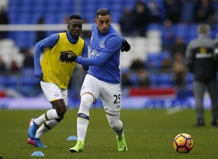 Britain Football Soccer - Everton v Sunderland - Premier League - Goodison Park - 25/2/17 Everton's Ramiro Funes Mori warms up before the game Reuters / Andrew Yates Livepic/Files