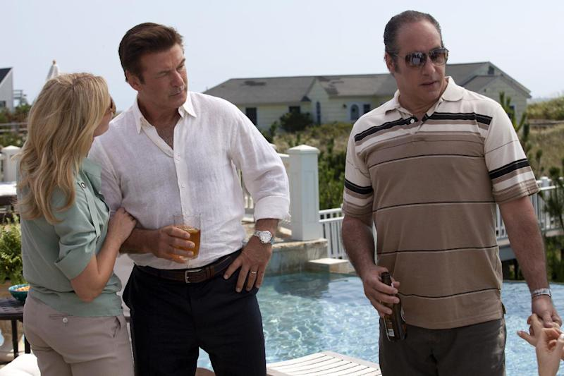 "In this film image released by Sony Pictures Classics shows Cate Blanchett, left, Alec Baldwin and Andrew Dice Clay, right, in a scene from the Woody Allen film, ""Blue Jasmine."" (AP Photo/Sony Pictures Classics)"