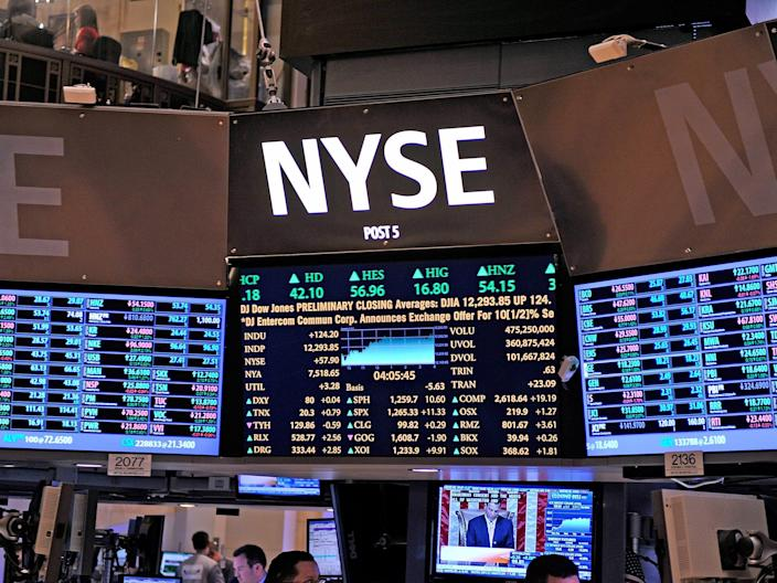A general view of a ticker system board at the New York Stock Exchange