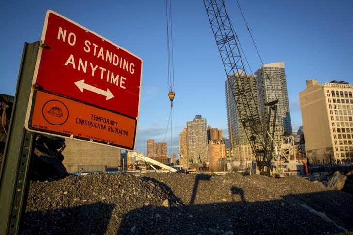 Equipment is seen at the site of the 34th St. Hudson Yards stop for the Number 7 subway line which is still under construction in New York