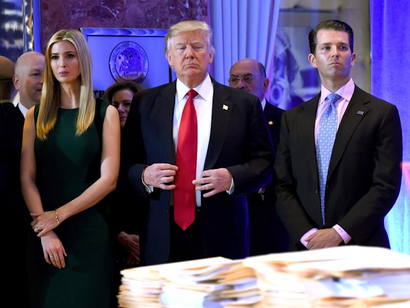 Donald Trump with Ivanka Trump and Donald Trump Jr in New York in 2017: Timothy A. Clary/AFP/Getty Images