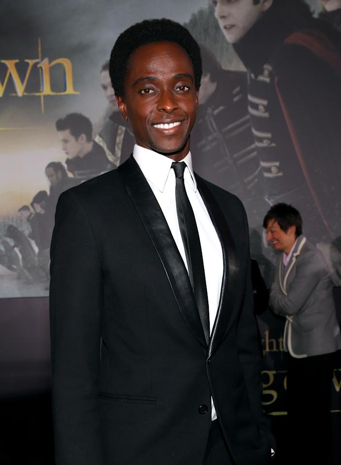 """Edi Gathegi arrives at the premiere of Summit Entertainment's """"The Twilight Saga: Breaking Dawn - Part 2"""" at Nokia Theatre L.A. Live on November 12, 2012 in Los Angeles, California.  (Photo by Christopher Polk/Getty Images)"""