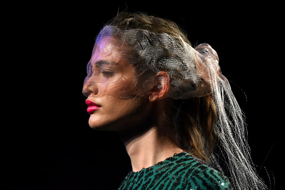 Brazilian model Valentina Sampaio during the Mercedes Benz Fashion Week in Madrid on July 10, 2019. (Photo: GABRIEL BOUYS via Getty Images)