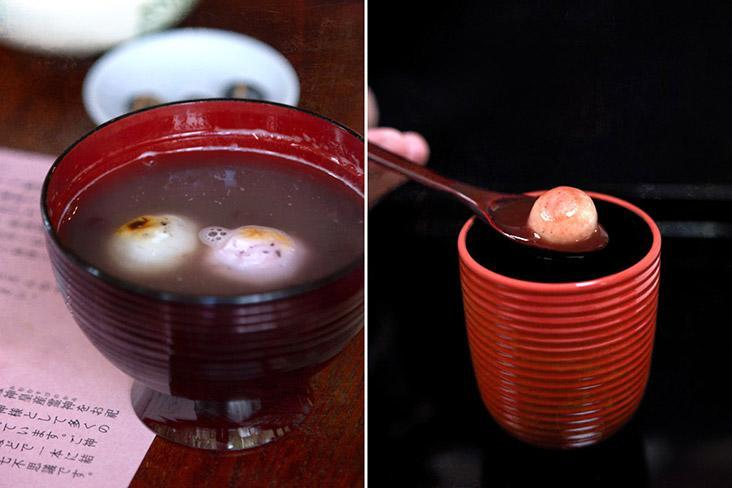 Unctuous bowls of 'shiruko' (sweet 'adzuki' bean soup) and orbs of chewy 'mochi' (glutinous rice cake).