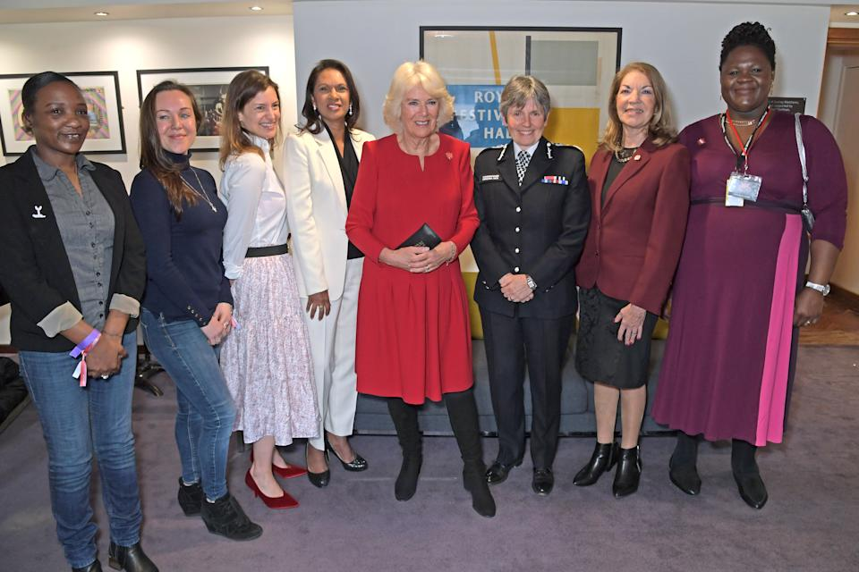LONDON, ENGLAND - MARCH 06: (L to R)  Naomi Donald, Celia Peachey, Suzanne Jacob, Gina Miller, Camilla, Duchess of Cornwall, Commissioner of the Metropolitan Police Service Cressida Dick, Sheila Gewolb and Daniella Jenkins attend the Grand Opening of the WOW Women Of The World Festival at the Southbank Centre on  March 6, 2020 in London, England.  (Photo by David M. Benett/Dave Benett/Getty Images)