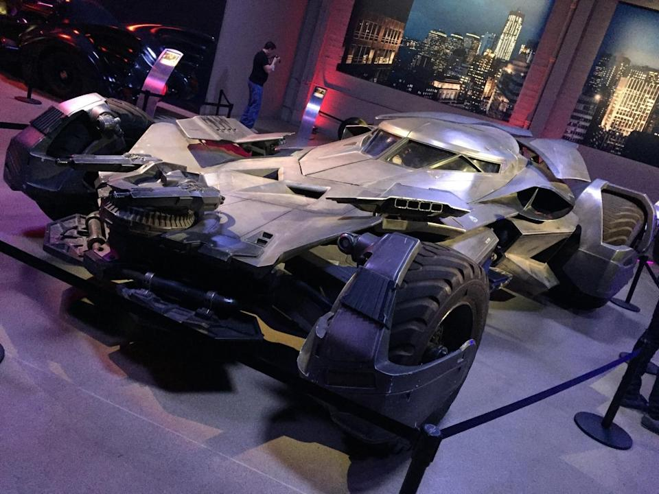 <p>Elsewhere on the lot, the latest version of Batman's ride, introduced in <i>Batman v Superman</i>, is among the vehicles collected in a Warners warehouse. It's parked alongside various Batmobiles, Batwings, and Batcycles from all the Caped Crusader's cinematic endeavors.</p>