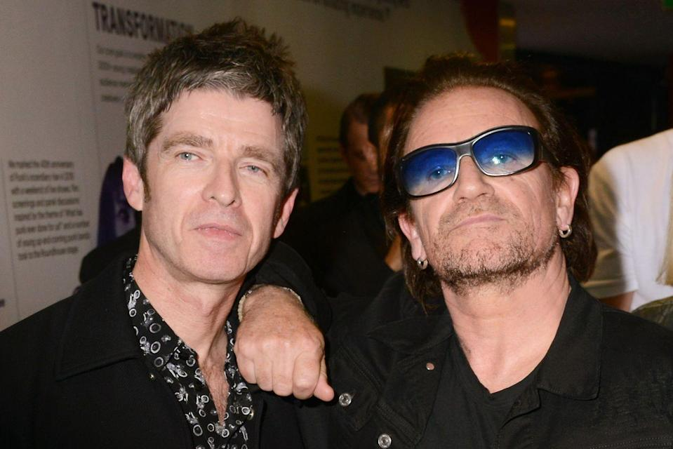 <p>Noel and Bono at the Q Awards in 2018 in London.</p>