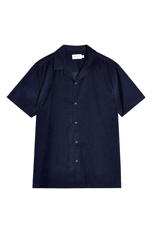 """<p><strong>Topman</strong></p><p>nordstrom.com</p><p><strong>$33.75</strong></p><p><a href=""""https://go.redirectingat.com?id=74968X1596630&url=https%3A%2F%2Fshop.nordstrom.com%2Fs%2Ftopman-short-sleeve-button-up-corduroy-camp-shirt%2F5596204&sref=https%3A%2F%2Fwww.esquire.com%2Fstyle%2Fmens-fashion%2Fg31743788%2Fnordstrom-sale-mens-fashion%2F"""" target=""""_blank"""">Buy</a></p><p>A camp-collar shirt? In corduroy?! Sold, to the man with way too many camp-collar shirts. </p>"""