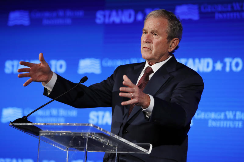 "FILE - In this June 23, 2017 file photo, former President George W. Bush speaks during ""Stand-To,"" a summit held by the George W. Bush Institute focused on veteran transition, in Washington. Bush will be in Florida on Friday to fundraise for Gov. Rick Scott's bid to oust Democratic Sen. Bill Nelson in a closely watched and expensive campaign. (AP Photo/Jacquelyn Martin)"