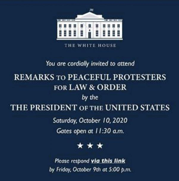 PHOTO: This invitation to a White House event scheduled for October 10 was obtained by ABC News. (Obtained by ABC News)