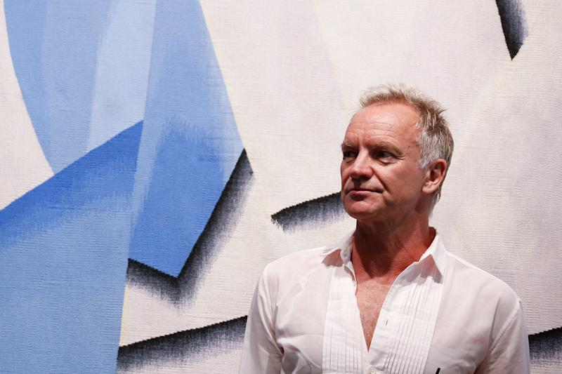 British singer Sting attends an event organized by Amnesty International and the Athens International Airport in Athens