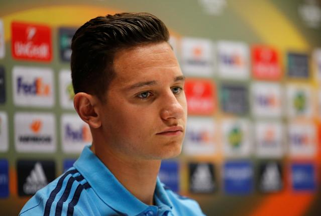 Soccer Football - Europa League - Olympique de Marseille Press Conference - Orange Velodrome, Marseille, France - April 25, 2018 Marseille's Florian Thauvin during the press conference REUTERS/Jean-Paul Pelissier
