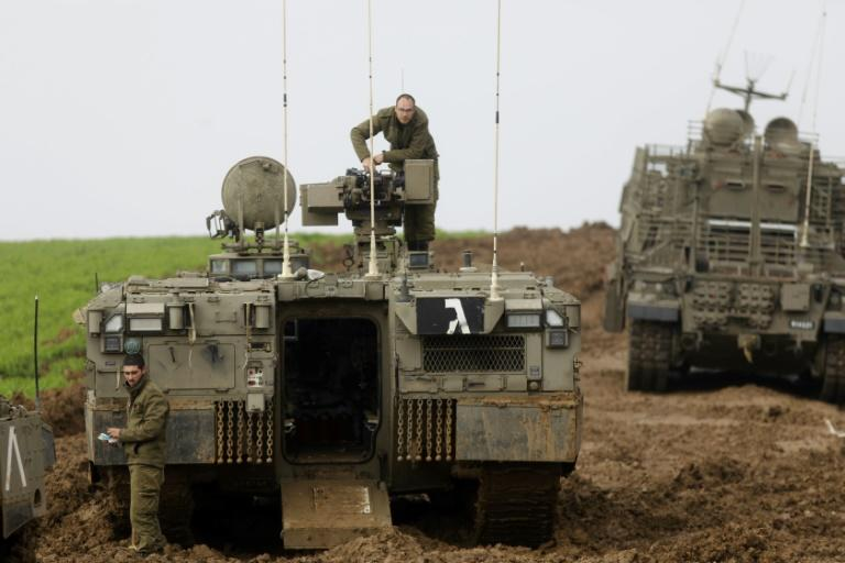 Israeli forces patrol near the border with Gaza on February 18, 2018